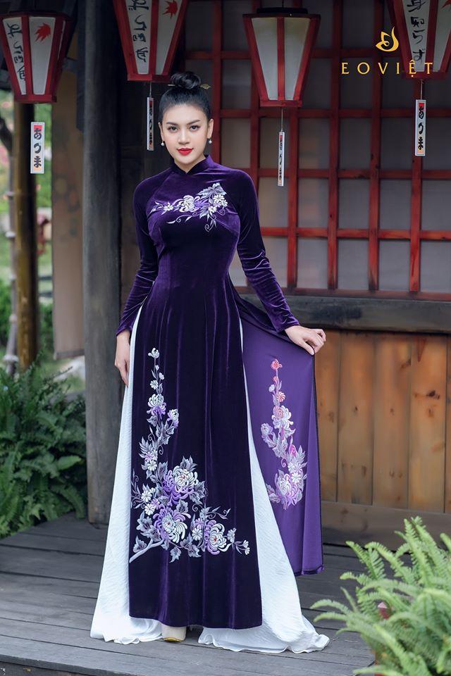 Áo dài nhung Hàn Quốc thêu lắc tay họa tiết hoa cúc AD66/3