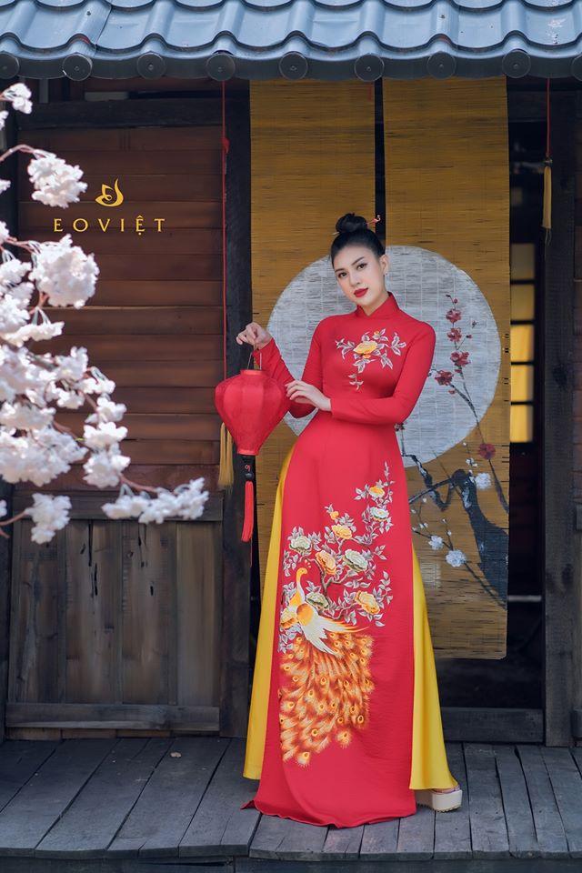 Áo dài họa tiết Khổng tước đậu cành hồng  AD8706