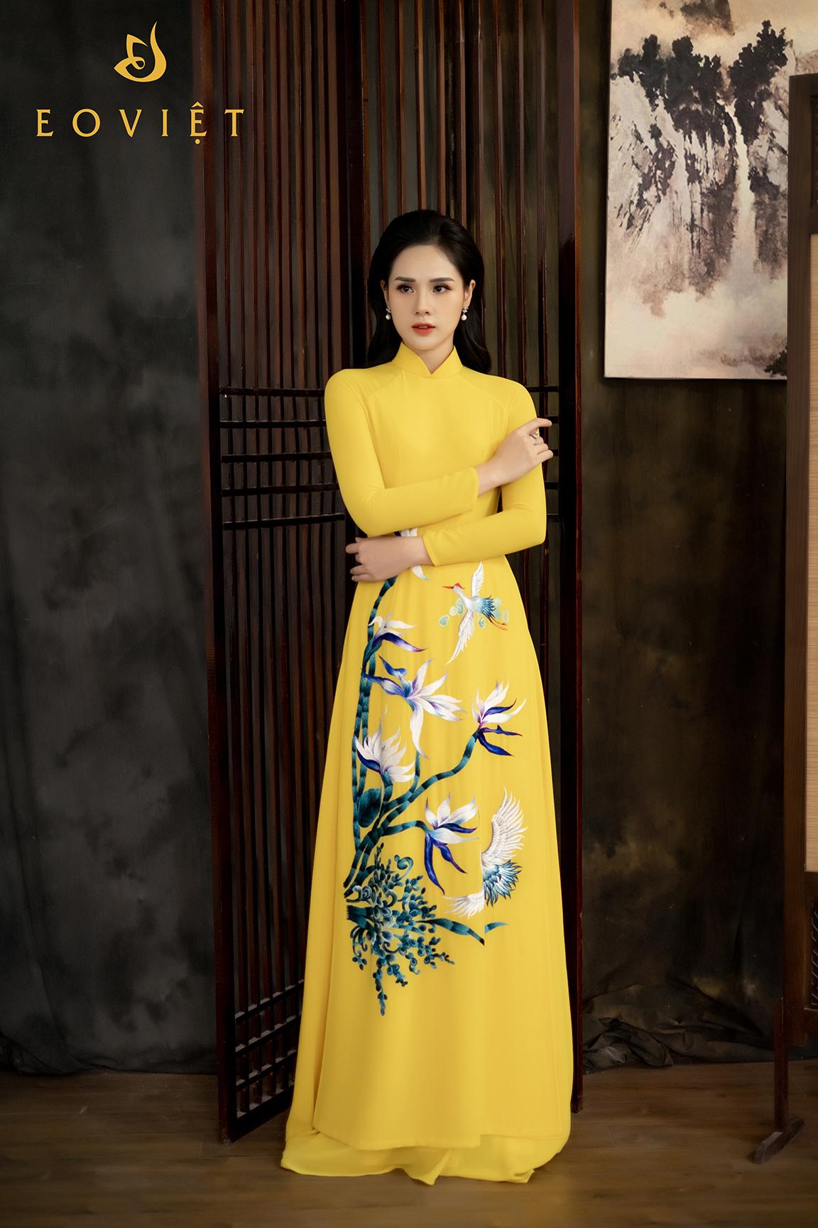 Áo dài thêu tay cao cấp họa tiết Hoa thiên điển AD01